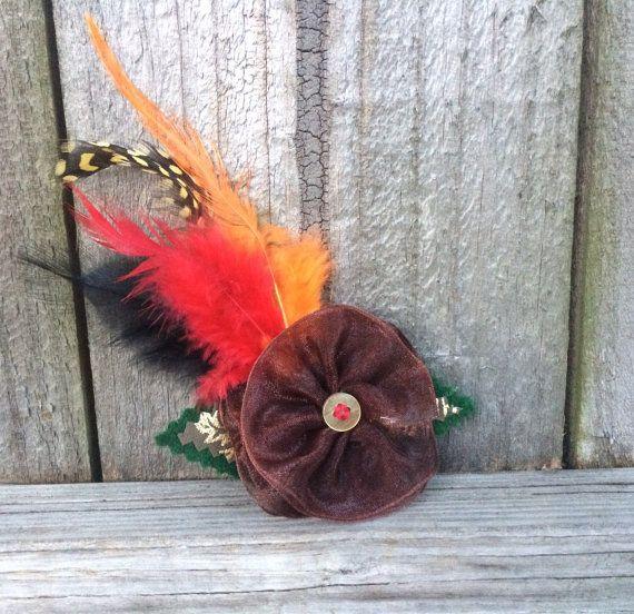 Brown Hair Clip, Thanksgiving Hair Bow, Fall Hair Fashion, Feather Hair Clip by BowtotheHair