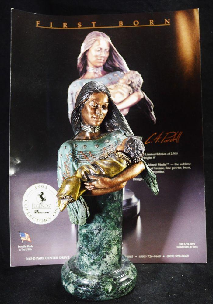 C.A. Pardell LEGENDS FIRST BORN Native Amer Themed Bronze Brass Pewter Sculpture