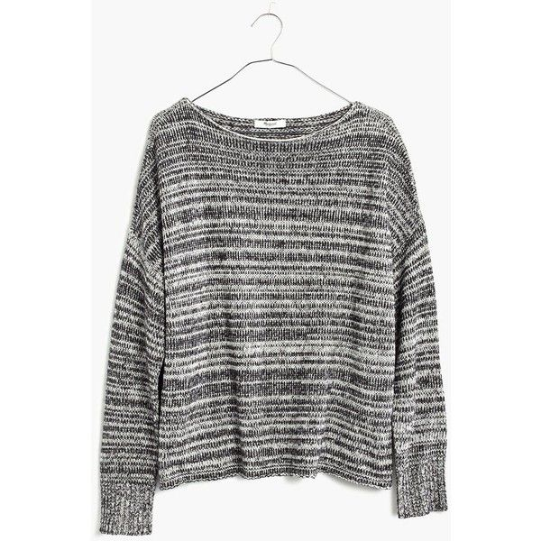 MADEWELL Threadmix Boatneck Sweater ($80) ❤ liked on Polyvore featuring tops, sweaters, true black, boat neck tops, madewell, boatneck top, boat neck sweater and black boxy top