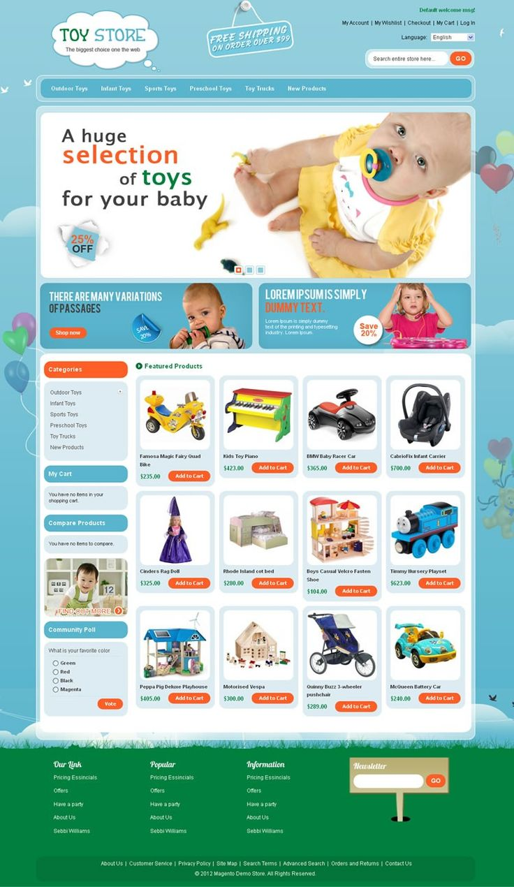Toys Store Magento Template is specially designed for toys, kids and flower store. Toys Store Magento Template looking good with it's color combination. All sub pages are designed. It is very nice with its clean and professional look.