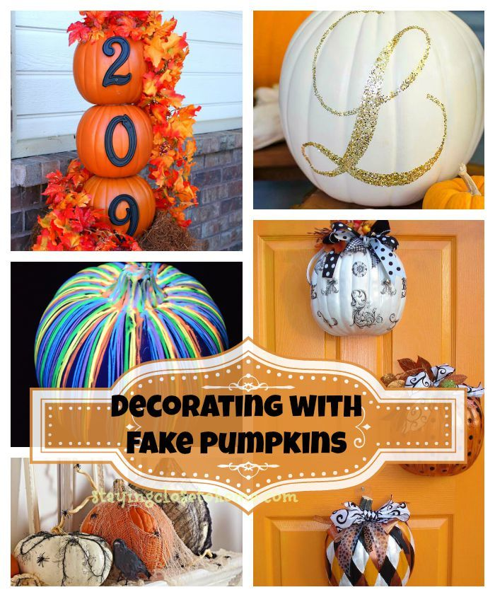 decorating with fake pumpkins - Non Scary Halloween Decorations