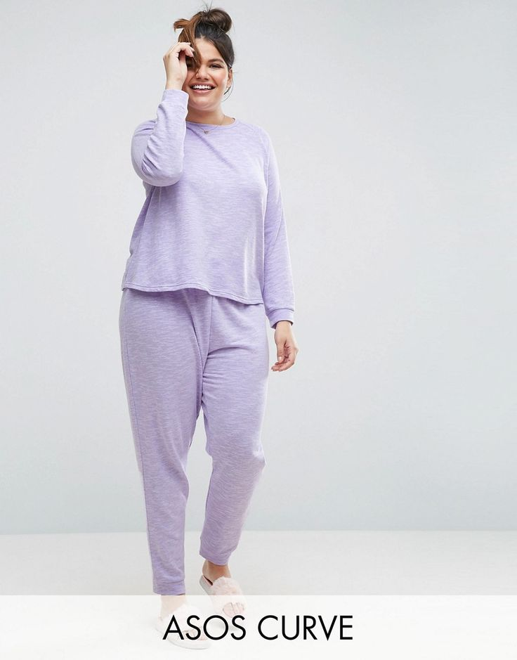 Buy it now. ASOS CURVE LOUNGE Sweat & Jogger Set - Purple. Plus-size pyjamas by ASOS CURVE, Soft-touch jersey, Space-dye design, Crew neck, Raglan sleeves, Trouser bottoms, Elasticated waist, Fitted trims, Machine wash, 64% Polyester, 36% Cotton, Our model wears a UK 18/EU 46/US 14 and is 180cm/5'11 tall. Say goodbye to awkward-fitting plus-size fashion with our ASOS CURVE collection. Giving shout-outs to denim, occasionwear and jumpsuits, our London-based design team nail your new-season…