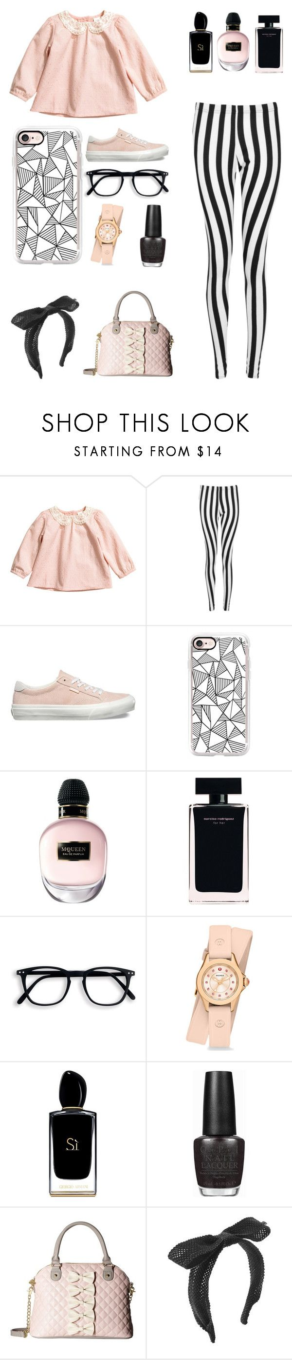 """Striped Leggings"" by pattibear ❤ liked on Polyvore featuring H&M, Boohoo, Vans, Casetify, Alexander McQueen, Narciso Rodriguez, Michele, Giorgio Armani, OPI and Betsey Johnson"