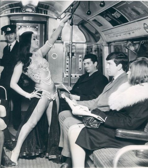 Turkish Belly dancer on a London Train 1968