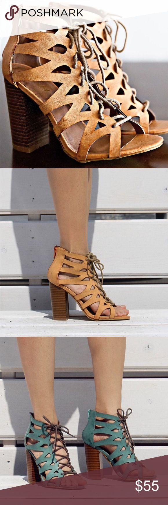 Ladies high top lace up chunky heels sandals. NIB Summer is here! Walk in style with this stylish sandal, super comfy, hot color, brand new in box, man made material, 3-4 inches hells, true to size. Available in torques and and rose colors. NO TRADES shoeroom21 boutique Shoes Heels
