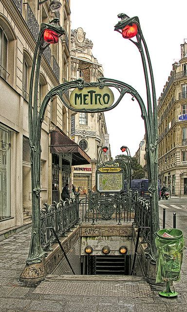 Eighty-three of the original Art Nouveau signs designed by Hector Guimard survive at the entrances to Paris Metro stations.