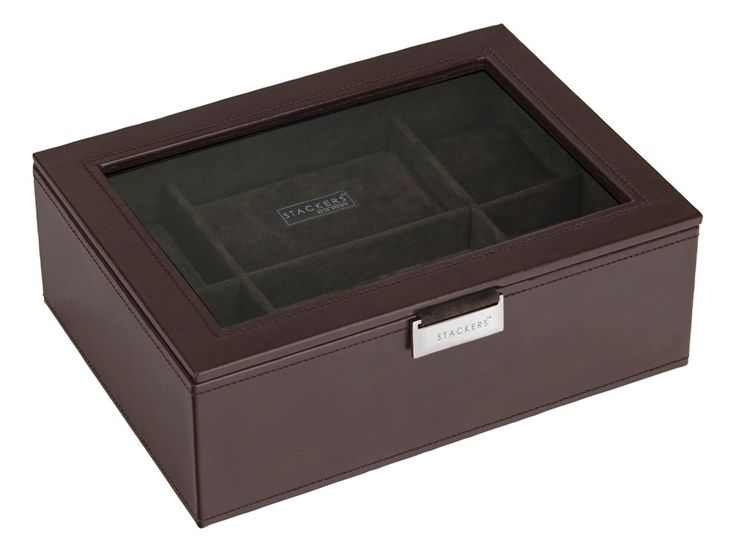 Shop for modern and Stylish Stackers Brown Watch Box from We Get Personal UK. The box can be engraved on the glass lid which looks very neat. You can store 8 watches in this personalised watch box. #personalisedwatchbox #engravedwatchbox #watchboxes #StackersBrownExecutiveWatchBox