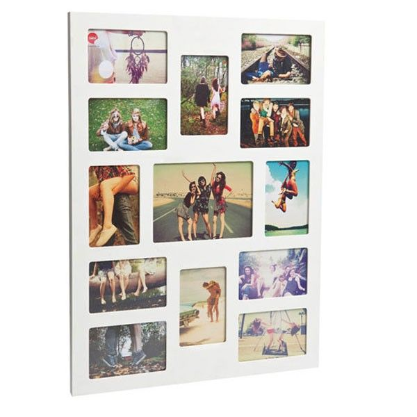 Flat Face 13 Multi Photo Frame - large white collage photo display