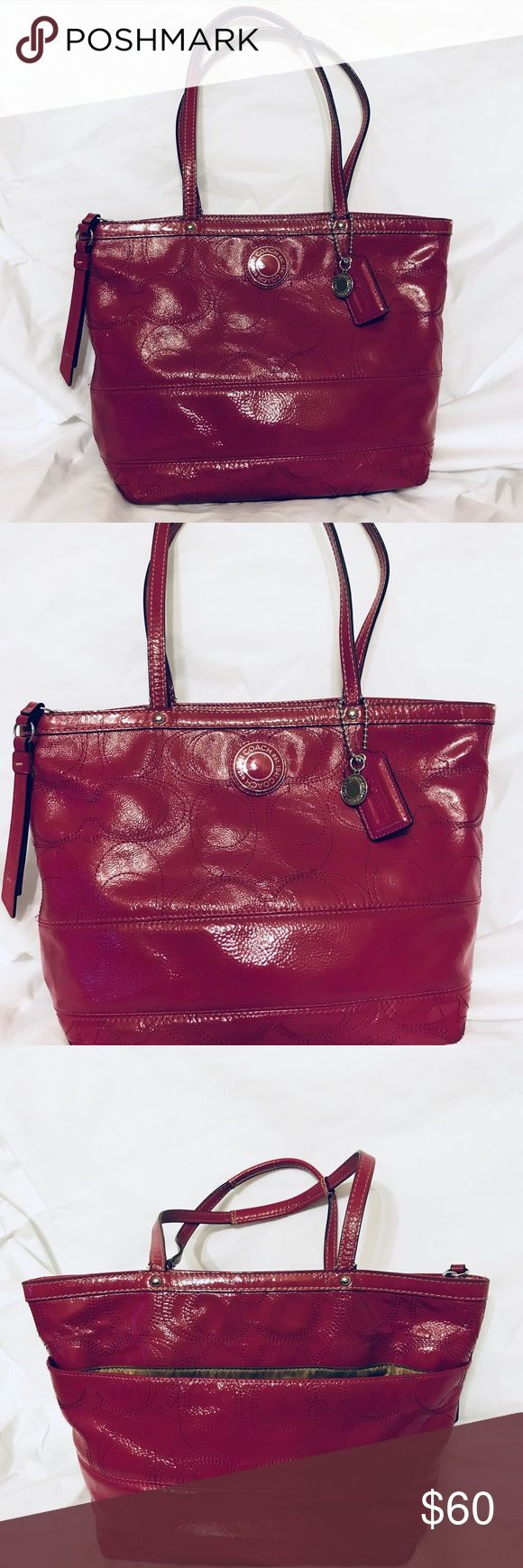 "Magenta Coach Tote Gently used Coach tote in excellent condition. Beautiful Magenta color. Zip top closure. Large pocket in back. 1 zip pocket and 2 non zip pockets inside. 14"" L x 9"" H x 3 1/2"" W. Coach Bags Totes"