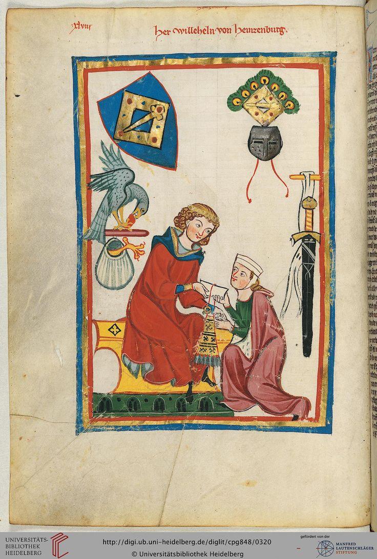 Der Stammsitz der rheinfränkischen Herren von Heinzenberg lag unweit der Nahe am Simmerbach im Soonwald, westlich von Bad Kreuznach. Der Name Wilhelm war in der Familie erblich; trotzdem handelt es sich bei dem dargestellten Minnesänger vermutlich um Wilhelm III. von Heinzenberg (1264-1292 bezeugt).