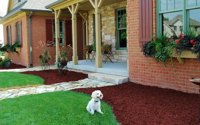 Landscaping Redwood Bark : Use a nice rich redwood color against brick or red brown
