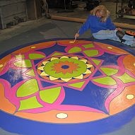Hand painted floor cloth . . . on a budget....»