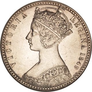 British Silver Coins Godless Florin 1849 young Queen Victoria, Imperial State Crown