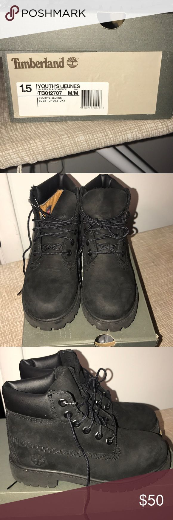 Kids Timberland Boots All Black Timberland Boots for kids only worn twice. Fairly new Timberland Shoes Boots