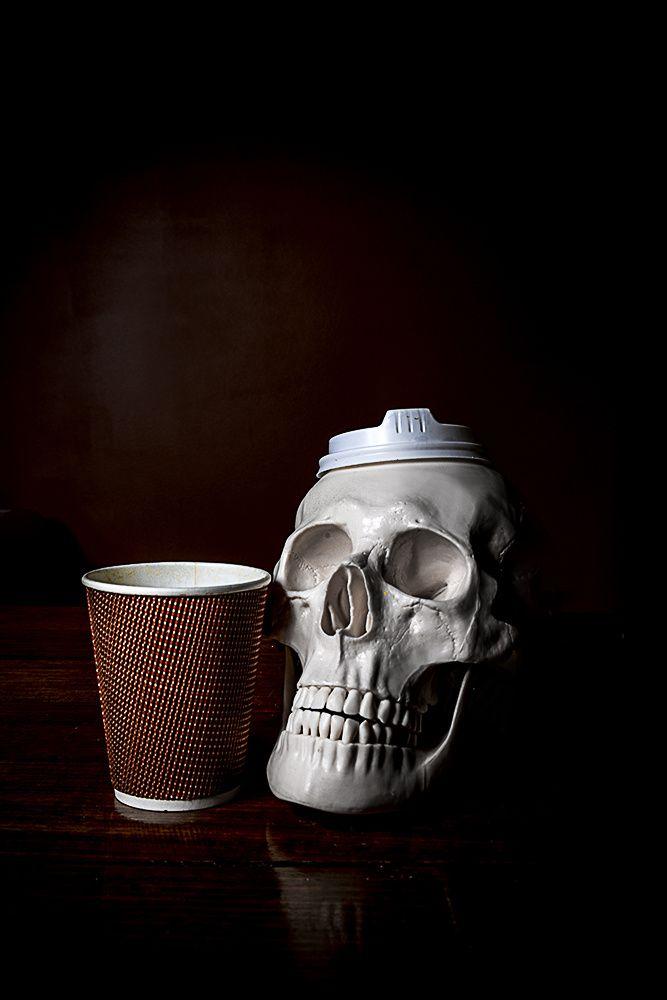 MORNING PARTY HAT still life photograph by #CheechSanchez 2014 #skull #skulls skulls #vanitas vanitas #stilllife stilllife #coffee coffee