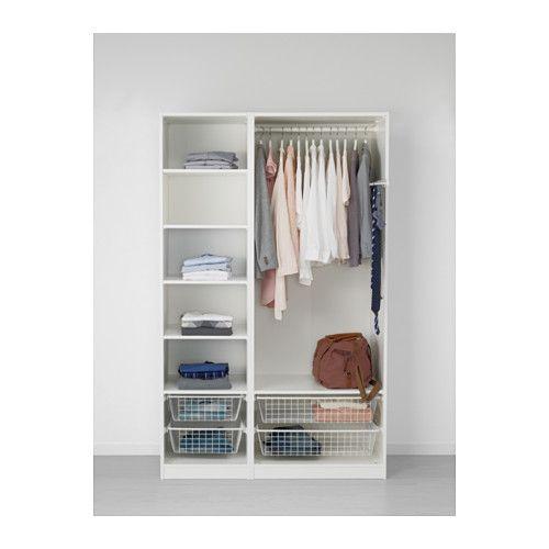 PAX Wardrobe, white, Ballstad Vikedal standard hinges 125x60x201 cm
