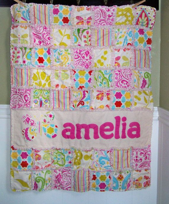 Rag Quilt Crib Size Personalized With Name Applique You