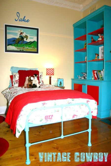 turquoise and red. I have loved this room for 3 years now!