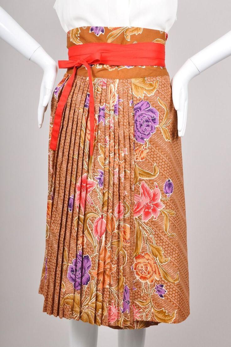 Vintage Kenzo Jap Multicolor Floral Print Pleated Cotton Wrap Skirt Sz 40 | eBay