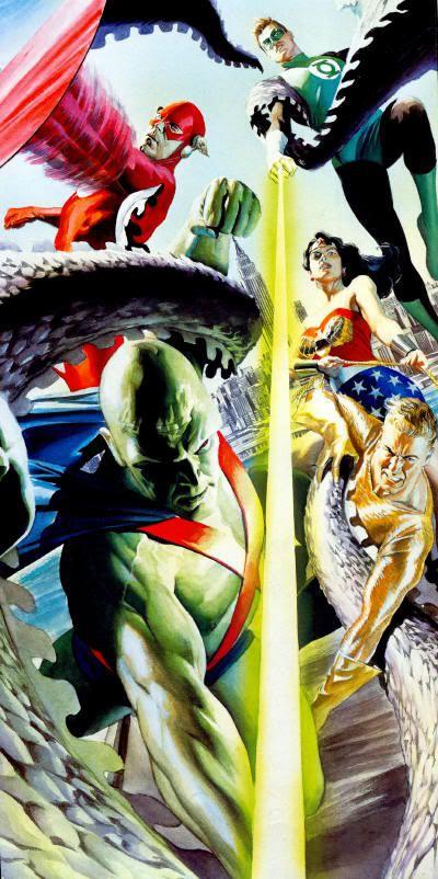 Alex Ross Justice League of America vs. Starro (2002) (Martian Manhunter, Flash, Green Lantern, Wonder Woman, and Aquaman)