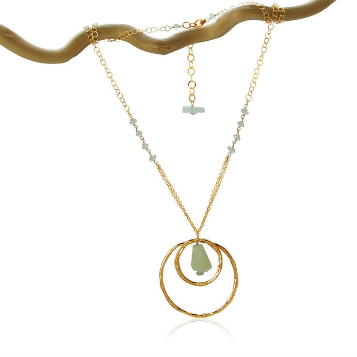 AQUAMARINE 2 Karma Circles Gold Necklace