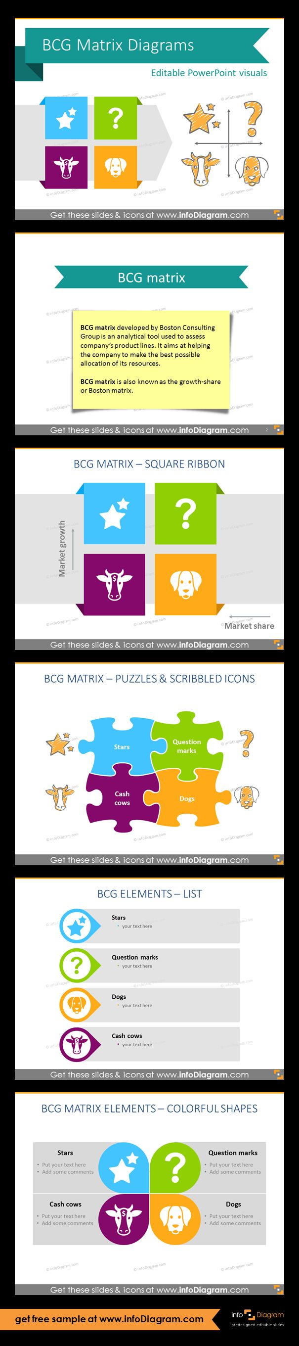 Collection of BCG diagrams as pre-designed PowerPoint slides. Set of various diagrams representing four distinct product groups: Stars, Cash Cows, Question Marks and Dog. Definition of BCG matrix, its aims. Scribbled icons and square ribbon, BCG matrix showed as a puzzle, list of BCG elements, colourful overview of the growth-share matrix. Presentation template suitable for marketing and business development presentations. Fully editable style. Size and colors easy to adjust using PowerPoint…