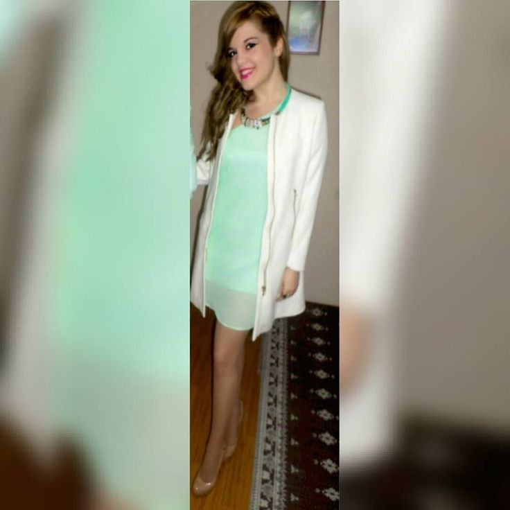 mint mini dress lulu's, white colareless coat