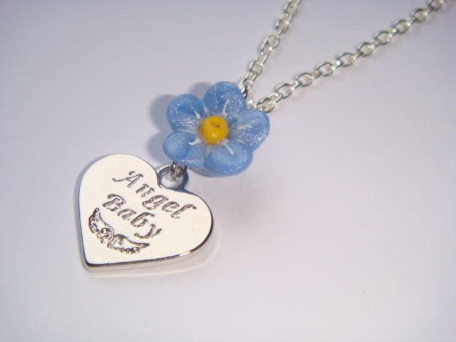 Memorial Baby Loss Angel Baby Heart & Forget Me Not Flower Charm Necklace by BellaAniela on Etsy https://www.etsy.com/listing/189426470/memorial-baby-loss-angel-baby-heart