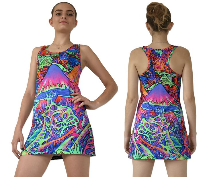 """Sublime Tank Girl : Psy Shroom The Space Tribe racerback mini-dress / long vest that will really grab people's attention.  Slinky stretch polyester lycra fabric (82% polyester, 18% spandex)  Printed using sublimation printing technology.  This allows for extremely vibrant colors that will never fade away no matter how many times it gets washed, & results in an extremely soft """"feel"""" to the top for ultimate comfort.  Artwork by Felix Stöver"""