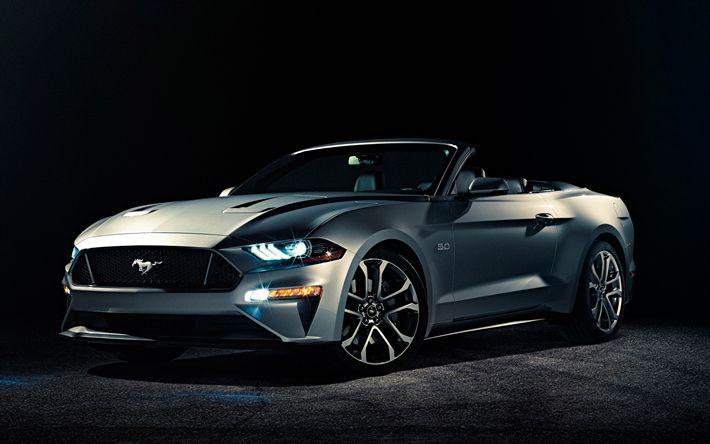 Lataa kuva Ford Mustang, 2018, harmaa Avoauto, harmaa Mustang, Urheiluauto, Amerikkalaisten autojen, Ford