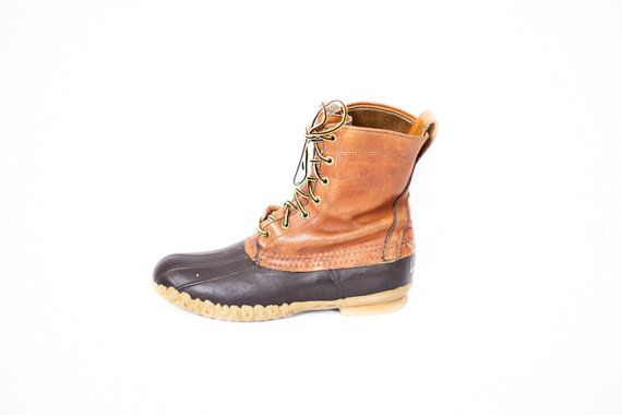 Mens LLBean Duck Waterproof Leather Boots Size 11