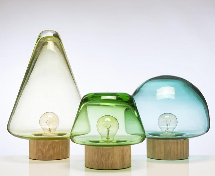 SKOG - elegant glass and wood table lamps