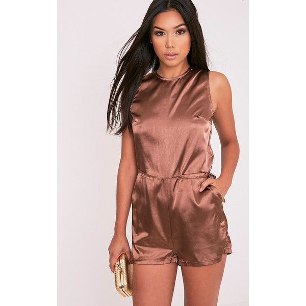 Llyna Brown Satin Tie Waist Playsuit ($8.80) ❤ liked on Polyvore featuring jumpsuits, rompers, brown, playsuit romper, brown romper, satin romper, satin rompers and tie-dye rompers