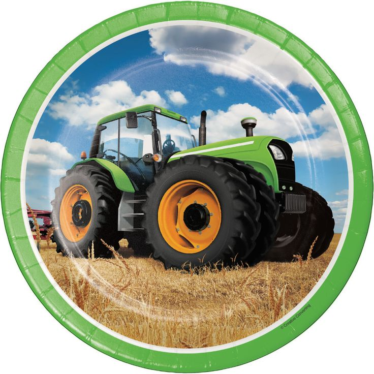 """Just what's needed to set the table at your Tractor, Farm, or John Deere Party! + Package contains (8) paper dinner plates, as pictured + Each plate is 8.75"""" in diameter"""