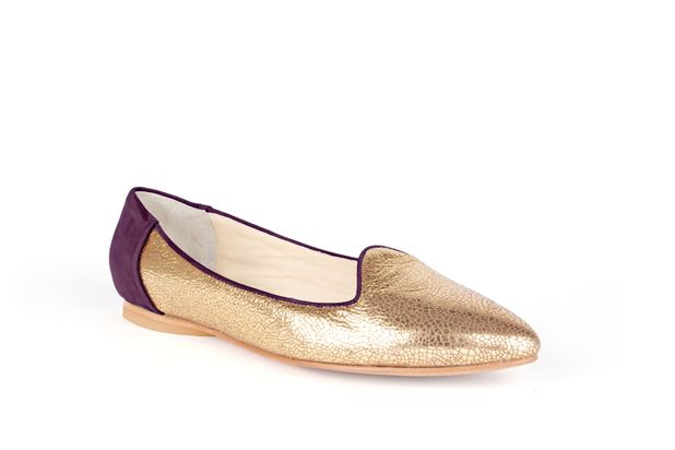 The Feminine Slipper by Poppy Barley Made to Measure, in Metallic Gold and Royal Purple Nubuck. #Customize your leather colours and hardware. #Handcrafted to your measurements. #Flats #BalletFlats poppybarley.com