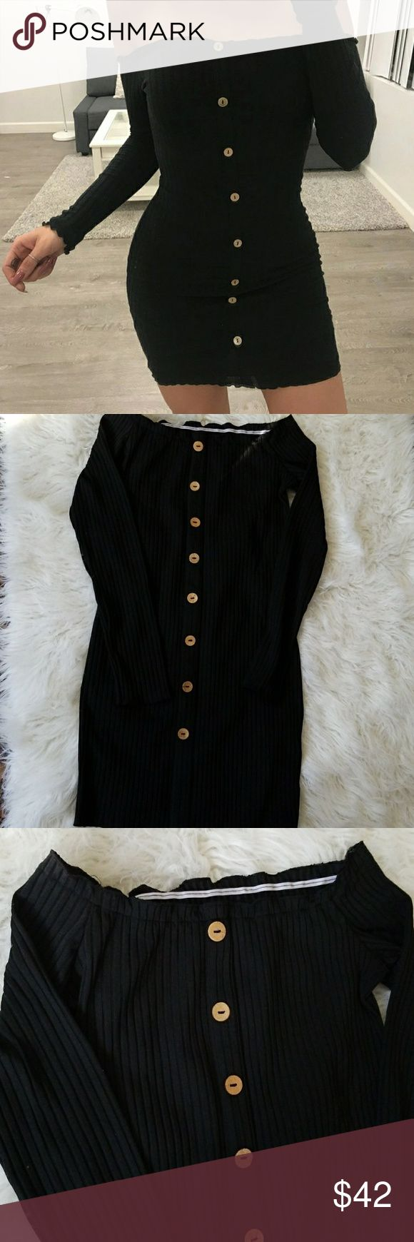 Button Down Black Dress Brand new without tags. Size medium. Fits an 8 best.  Fabric is stretchy. Buttons are not real (meaning they dont unbutton lol)   Offers welcome! Dresses Mini