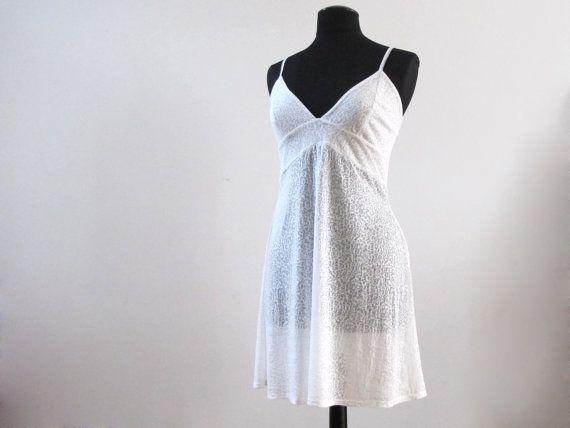 White gebrand fluweel slip jurk nigthie door hannevandersteen