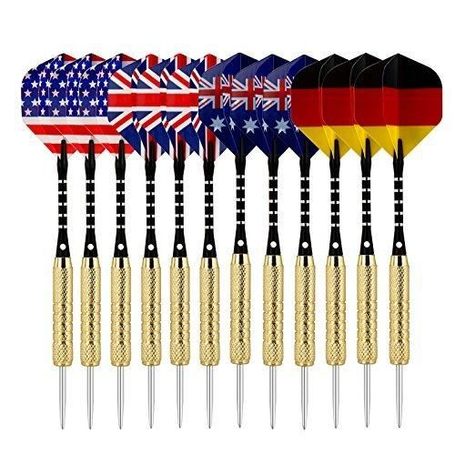 Sametop 12 Packs Steel Tip Darts with National Flag Flights Aluminum Shafts and Brass Barrels