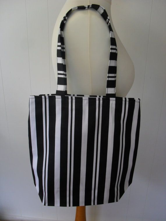 Black & White Vertical Stripe Tote Bag.