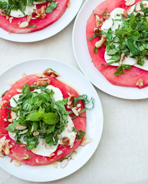 Watermelon Mozzarella Salad Recipe   This refreshing salad is perfect for barbecues, picnics, and backyard gatherings   A Cup of Jo