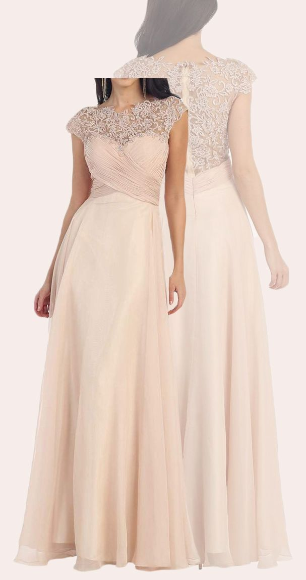 d8711347aa45 Elegant Cap Sleeves Lace Chiffon Mother of the Brides Dress Champagne Formal  Evening Gown #dress #gown #prom #prom2018 #promdress #promgown #formaldress  ...