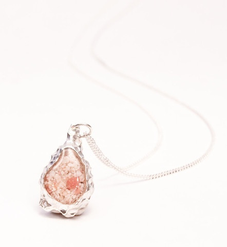 Bermuda Pink Sand Necklace Reef Collection Tiny Teardrop Pendant