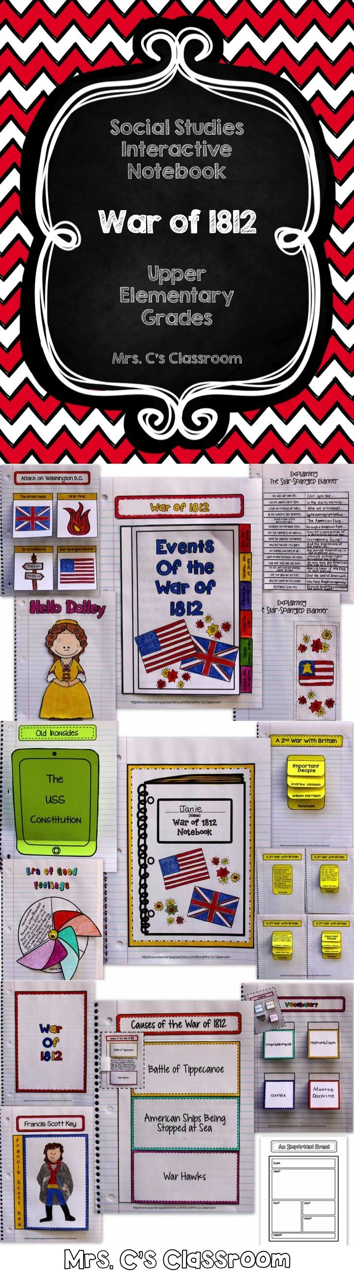 This interactive notebook covers the War of 1812, including the causes of the war, important battles, events, people, the Star-Spangled Banner, and more. $