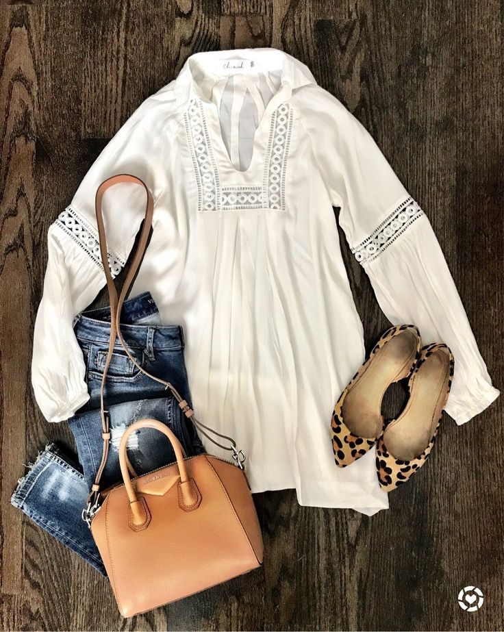 Transitional outfit from Summer to Fall | White tunic and leopard flats Fall outfit