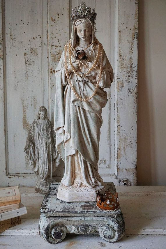 Virgin Mary statue shabby French Nordic white with pale blue large Madonna figure w/ antique wood pillar cottage decor anita spero design