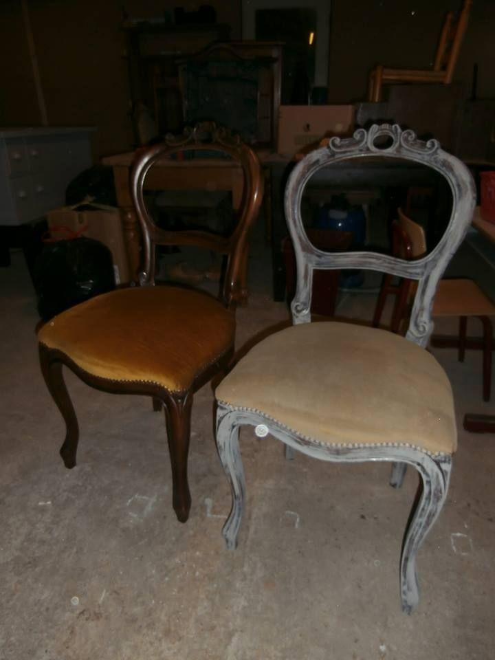 Dat Krijtverf van Annie Sloan ook kan op stoffen stoelen zie je hier. 4 biedermeierstoelen nonchalant geschilderd met French Linen. De stof is gewoon meegeverfd ze staan te koop bij Halfweg Brocante in Ede.