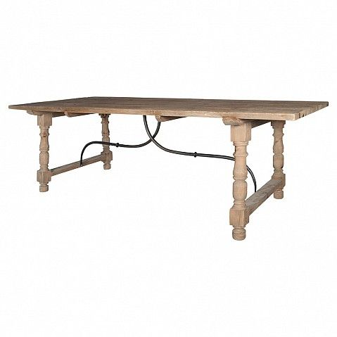 Old pine country kitchen dining table with metal support bars - Trade Secret