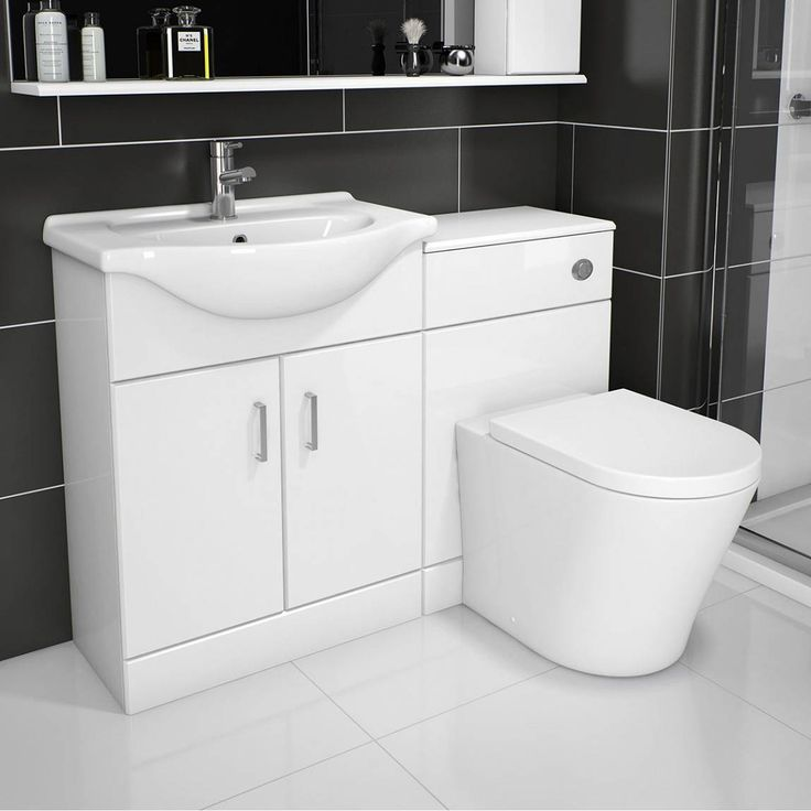 Sienna Arc White Gloss Combination Vanity Unit Small - Victoria Plumb £259. 1040mm 450mm sink projection