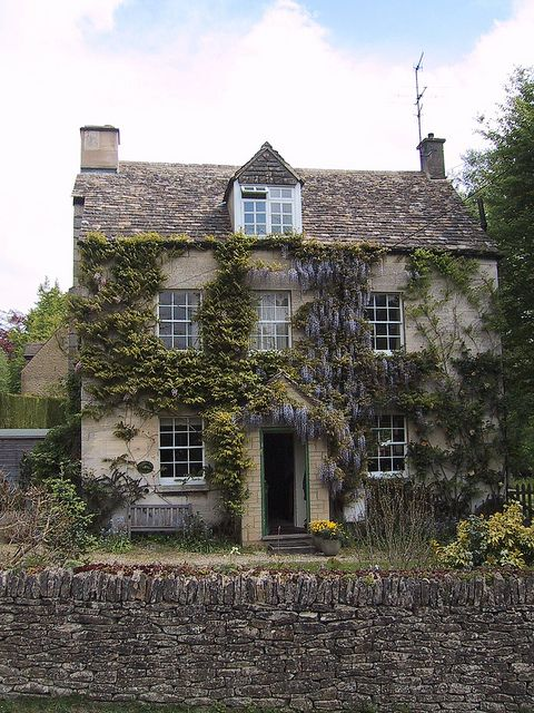 "Wisteria, cottage in Painswick, ""Queen of the Cotswolds"", exteriors, old building, home, house"