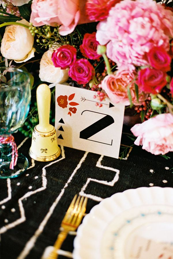 eclectic tablescape, photo by Amber Snow http://ruffledblog.com/austin-botanical-inspired-shoot #tablenumbers #reception #tables